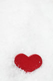 Red Wooden Heart Upright in Snow Royalty Free Stock Photos