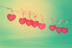 Red wooden hearts on line Stock Photo