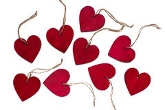 Red wooden hearts. Some red wooden hearts. Isolated Stock Images