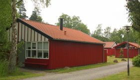 Red wooden holiday houses. Denmark royalty free stock photos