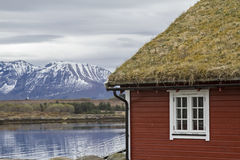 Red wooden house on the Atlantic Road. Omnipresent in the whole Norwegian coast - picturesque red wooden houses with white windows Royalty Free Stock Images