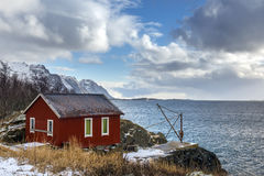 Red wooden house called rorbu at the Lofoten archipelago Royalty Free Stock Image