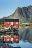 Red  wooden house called rorbu on Lofoten Islands Stock Photos