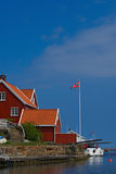 Red Wooden House In Lyngor, Norway Stock Photography