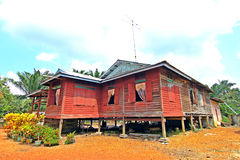 A red wooden house. This house is made from wood Stock Photos
