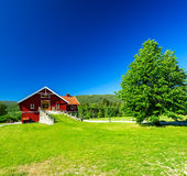 Red wooden house Stock Photo