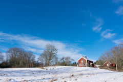 Red wooden house in Sweden Royalty Free Stock Image