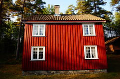 Red wooden house Telemark, Norway Stock Photos