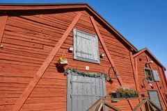 Red wooden houses in Oulu city center. Finland highlight. Destination Stock Image