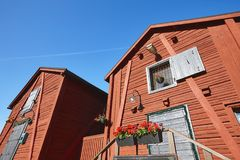 Red wooden houses in Oulu city center. Finland destination. Red wooden houses in Oulu city center. Finland highlight destination Stock Images