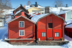 Red wooden houses in Porvoo, Finland Royalty Free Stock Photos