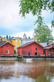 Red wooden houses of Porvoo, Finland Stock Photo