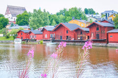 Red wooden houses of Porvoo, Finland Royalty Free Stock Images