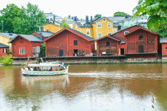 Red wooden houses of Porvoo, Finland Royalty Free Stock Photo