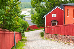 Red wooden houses in Porvoo, Finland Stock Images