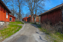 Red wooden houses Stock Images