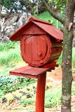 Red Wooden Mailbox Royalty Free Stock Photos