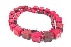 Red wooden  necklace Stock Images