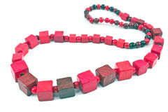 Red wooden necklace Stock Photography