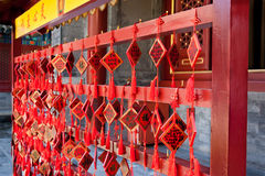 Red Wooden Prayer Pendants. Many hanging wood pendants in Beihai Park, Beijing Royalty Free Stock Photos