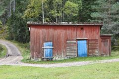 Red wooden shed Stock Image