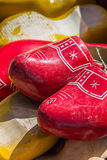 Red wooden shoes Royalty Free Stock Photography