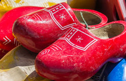 Red wooden shoes Royalty Free Stock Image