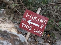 Sign on a trail. royalty free stock photos
