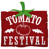 Red Wooden Sign with Leaves for Tomato Festival, Vector Illustration. Poster with a red wooden greeting sign with hand drawn tomato and leaves in the top to Stock Images