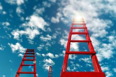 Business Development Motivation Career Growth Concept. Red Staircase Rests Against Blue Sky And Clouds. Red wooden staircase against the blue sky. Business royalty free stock images
