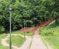 Red wooden staircase stock photos