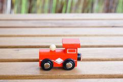Red wooden toy locomotive Stock Photo