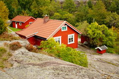 Red wooden traditional house, Norway Stock Photo