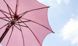 Red wooden umbrella Stock Image
