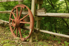 Red wooden wheel Stock Images