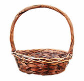 Red wooden wicker basket isolated Stock Photo