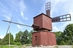 Red Wooden Windmill. Historic red wooden windmill in Western Finland Royalty Free Stock Photos