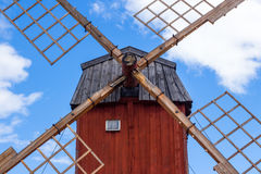 Red wooden windmill Royalty Free Stock Images