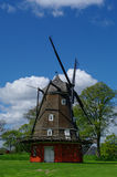 Red wooden windmill in Kastellet fortress The old military fort. Ress, Copenhagen, Denmark Royalty Free Stock Photos