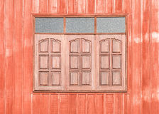 Red Wooden window. Of countryside house Stock Photos