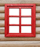 Red wooden window on the farmhouse Stock Images