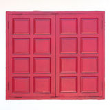 Red wooden window Stock Photos