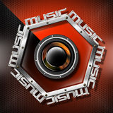 Red Woofer Music Hexagon Background Royalty Free Stock Photography