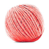 Red wool clew, knitting yarn roll isolated on white background Royalty Free Stock Photography