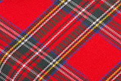 Red wool fabric texture. With cell Stock Photo