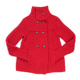 Red wool lady jacket. On white royalty free stock photos