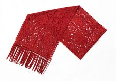 Red Wool Scarf with Filigree Design Stock Photo