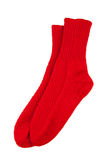 Red wool socks isolated. On white Stock Photos
