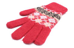 Red woolen glove on white background Stock Image