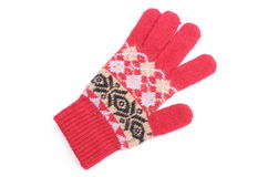 Red woolen glove on white background Royalty Free Stock Photo